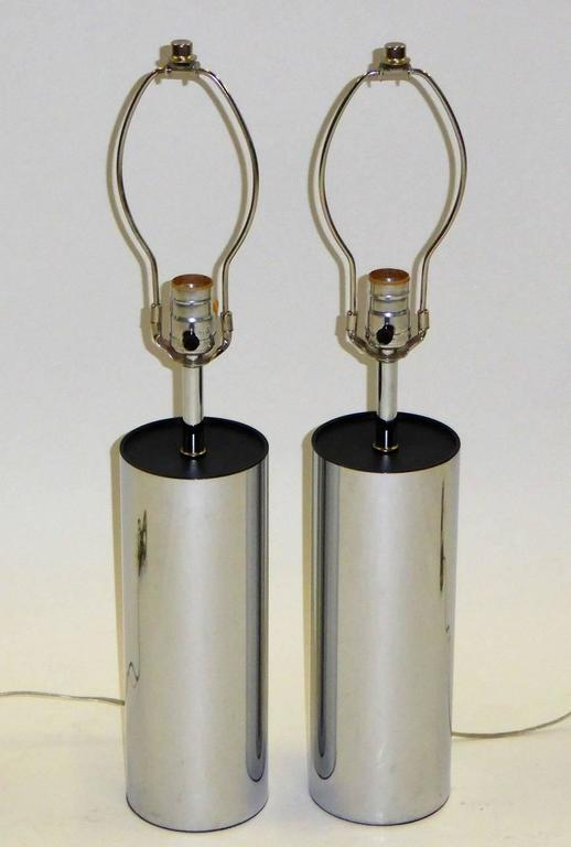 Pair of Robert Sonneman Chrome Cylinder Table Lamps for Kovacs 6