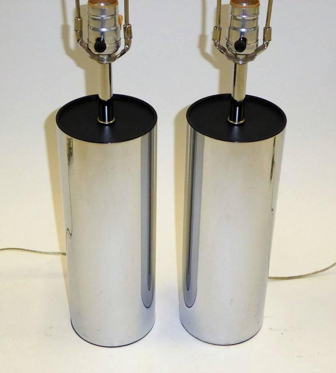 Pair of Robert Sonneman Chrome Cylinder Table Lamps for Kovacs 2