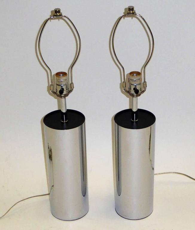 Pair of Robert Sonneman Chrome Cylinder Table Lamps for Kovacs 4