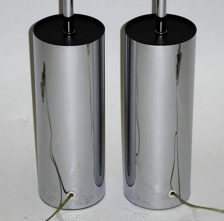 Pair of Robert Sonneman Chrome Cylinder Table Lamps for Kovacs 7