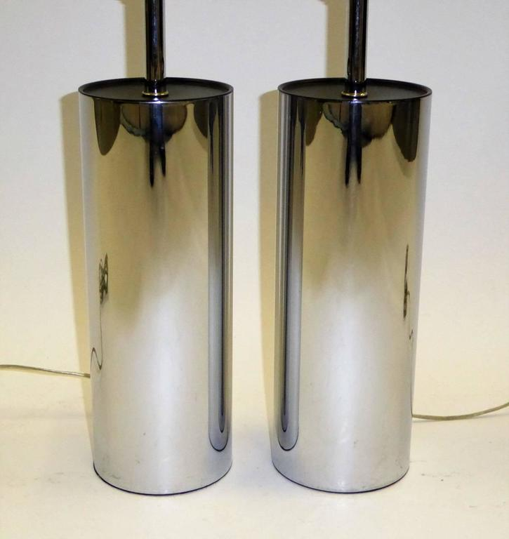 Pair of Robert Sonneman Chrome Cylinder Table Lamps for Kovacs 8