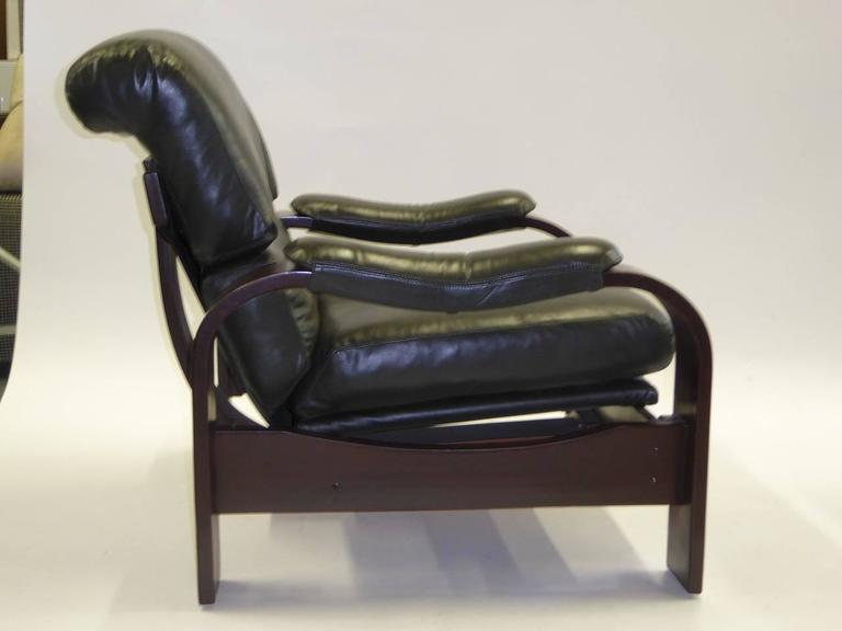 Late 20th Century Alvar Aalto Style Dark Green Leather and Bentwood Lounge Chairs For Sale