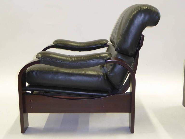 European Alvar Aalto Style Dark Green Leather and Bentwood Lounge Chairs For Sale