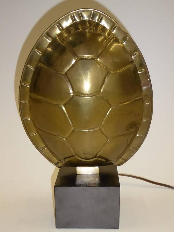 1970s Chapman Brass Tortoise Shell Lamp For Sale 3