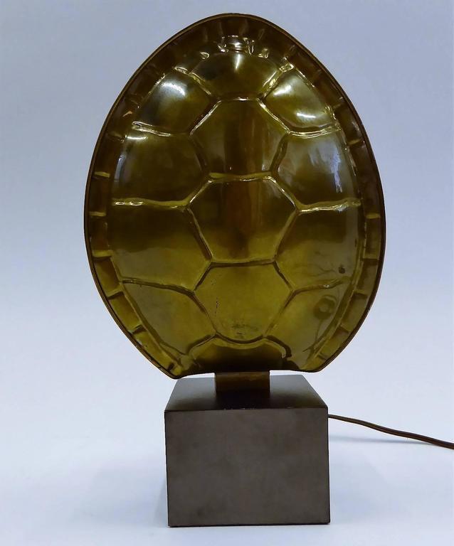 Mid-Century Modern 1970s Chapman Brass Tortoise Shell Lamp For Sale
