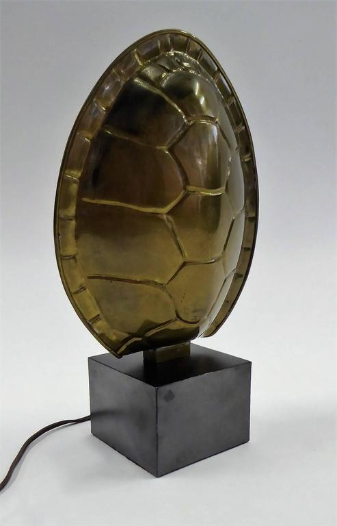 1970s Chapman Brass Tortoise Shell Lamp In Good Condition For Sale In Miami, FL