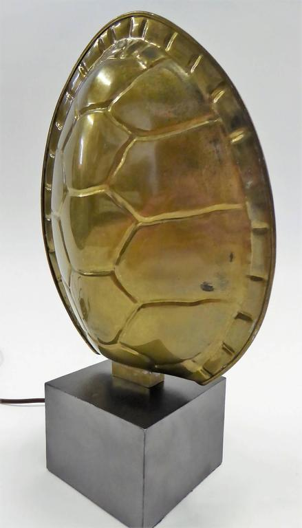 Late 20th Century 1970s Chapman Brass Tortoise Shell Lamp For Sale