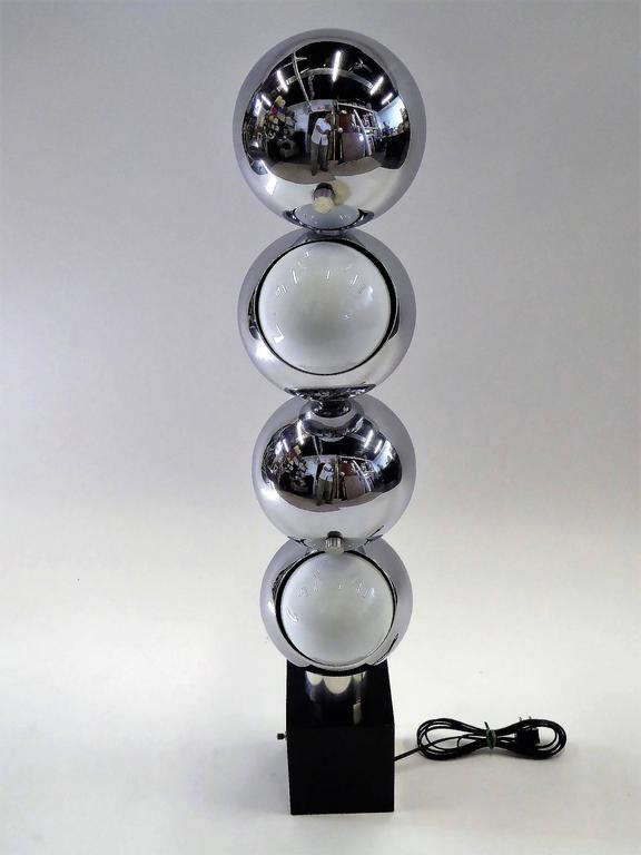1970s Robert Sonneman Space Age Chrome Ball Molecule Table Floor Lamp 3