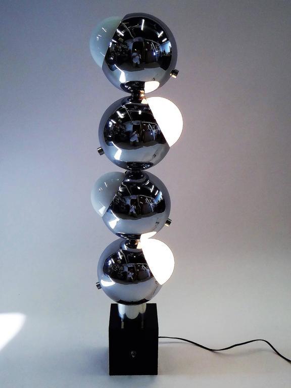 1970s Robert Sonneman Space Age Chrome Ball Molecule Table Floor Lamp 9