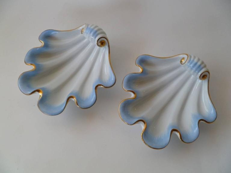 Wonderful pair of Herend pre-war late 1930s shell vessels created by the famous porcelain maker in Hungary. The company started in 1838 producing high quality porcelain pieces for royalty and well-to-do clients. These particular pieces were done in