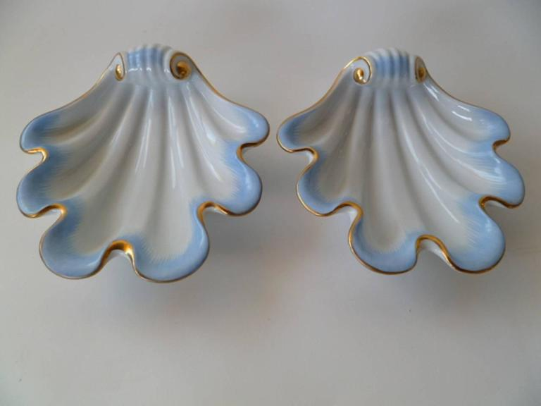 Hungarian Pair of Herend Hungary Modern Shell Porcelain Vessels, 1939 For Sale