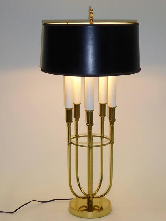 Mid-Century Modern Parzinger Style 1950s Solid Brass Five Candle Boulliotte Table Lamp For Sale