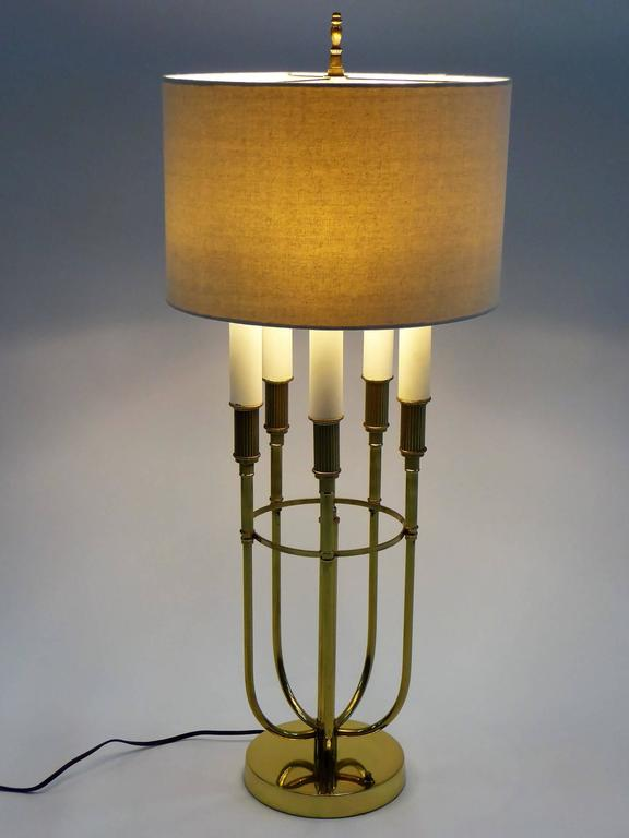 American Parzinger Style 1950s Solid Brass Five Candle Boulliotte Table Lamp For Sale