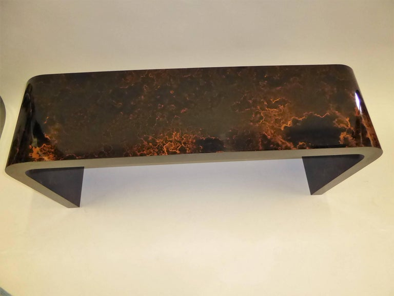 Karl Springer Inspired Faux Tortoise Waterfall Console Table 6