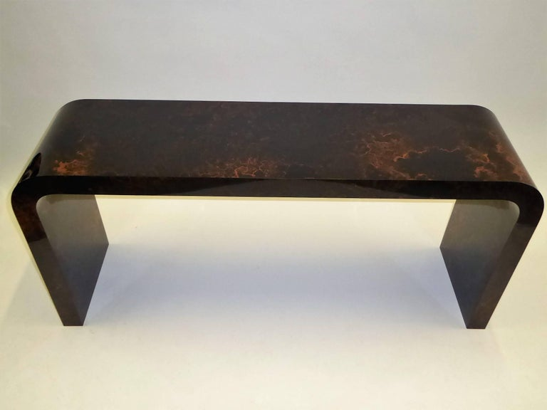 Karl Springer Inspired Faux Tortoise Waterfall Console Table 3