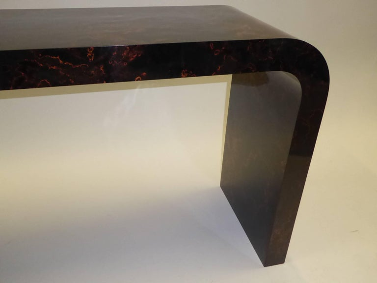 Karl Springer Inspired Faux Tortoise Waterfall Console Table 9