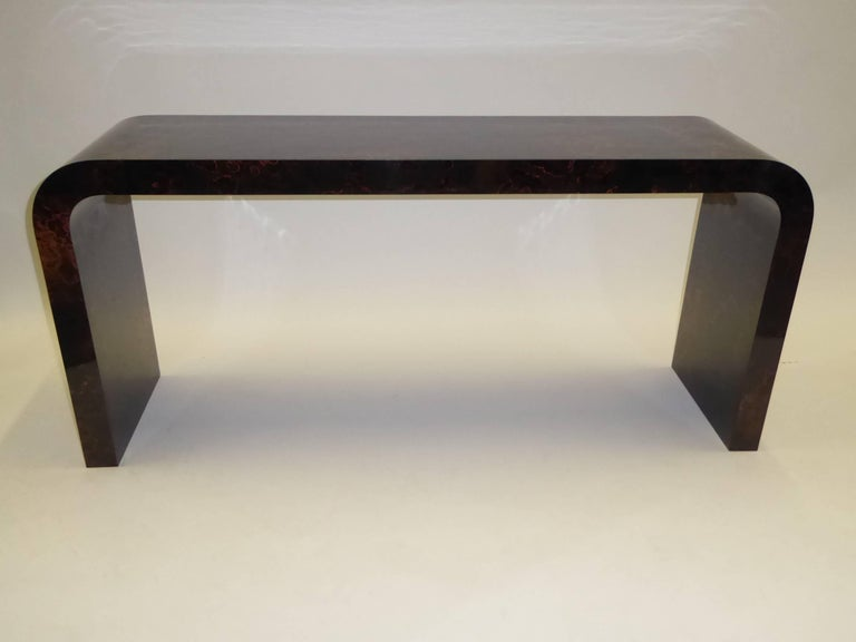 Karl Springer Inspired Faux Tortoise Waterfall Console Table 10