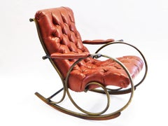 1970s Lee Woodard Sculptural Tufted Leatherette Rocking Chair