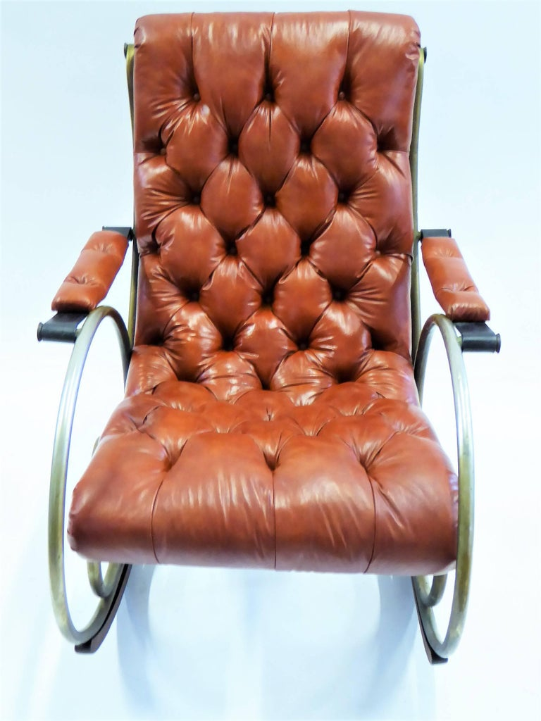 1970s Lee Woodard Sculptural Tufted Leatherette Rocking Chair For Sale 2