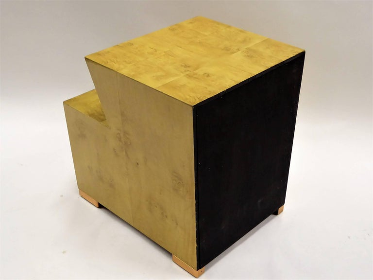 1930s Art Deco Carpathian Burl Nightstand with Copper Sabot For Sale 4
