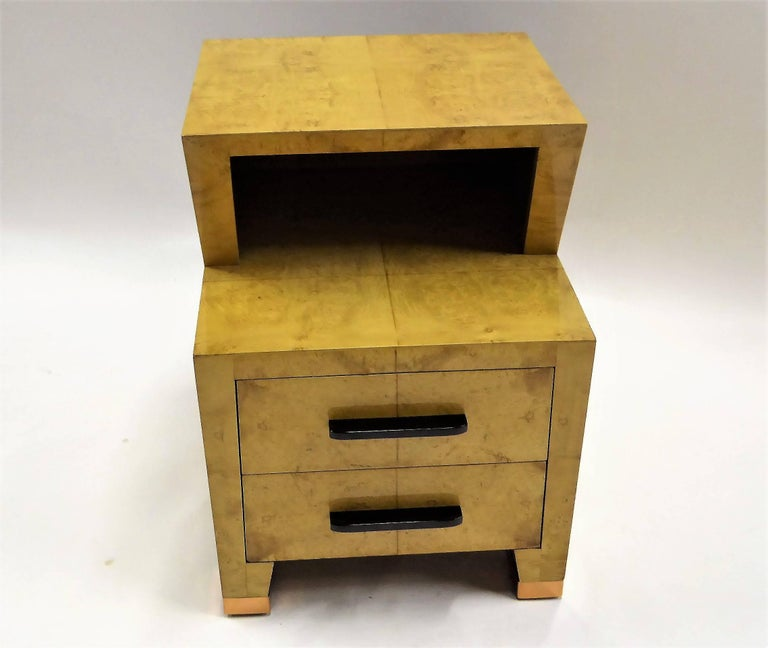 American 1930s Art Deco Carpathian Burl Nightstand with Copper Sabot For Sale