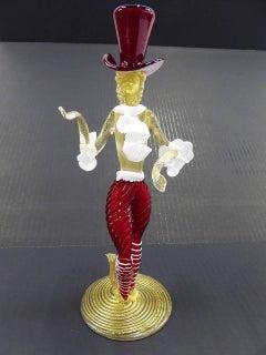 Mid Century Modern Murano Venetian Figurine with Top Hat 1950s