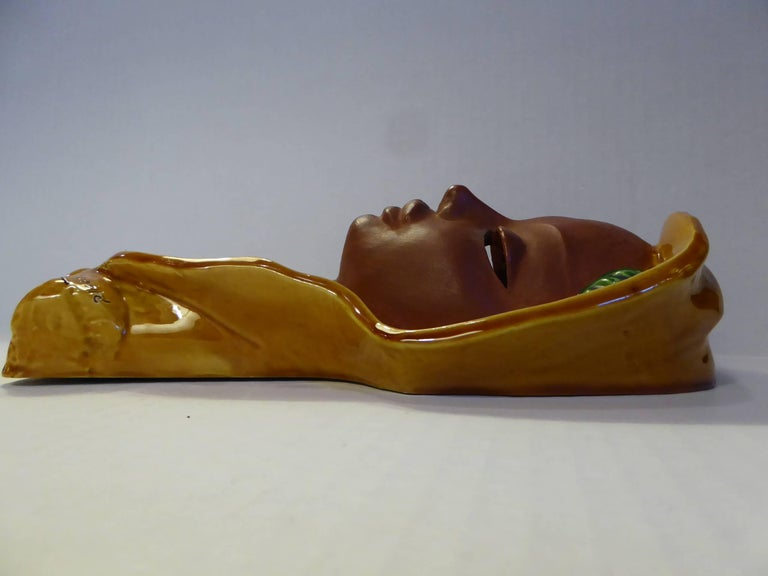 Paul Serste Art Deco Inspired Young Lady Wall Plaque 1940s Belgium For Sale 1