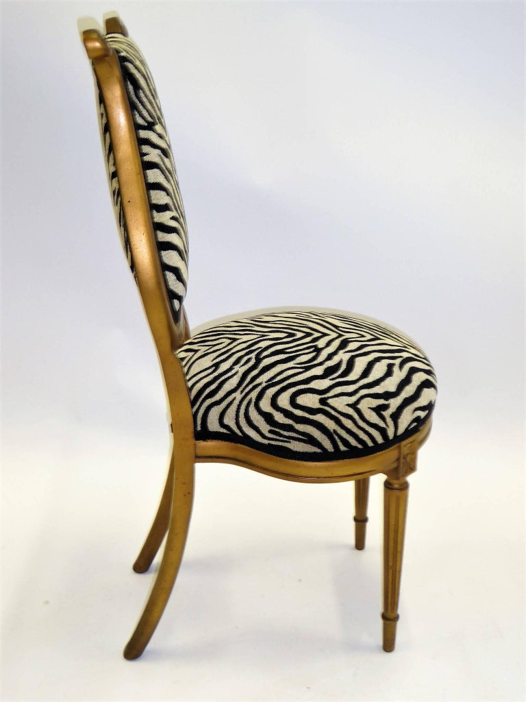 American 1940s Musical Motif Carved Giltwood Side Chair in Zebra Chenille For Sale