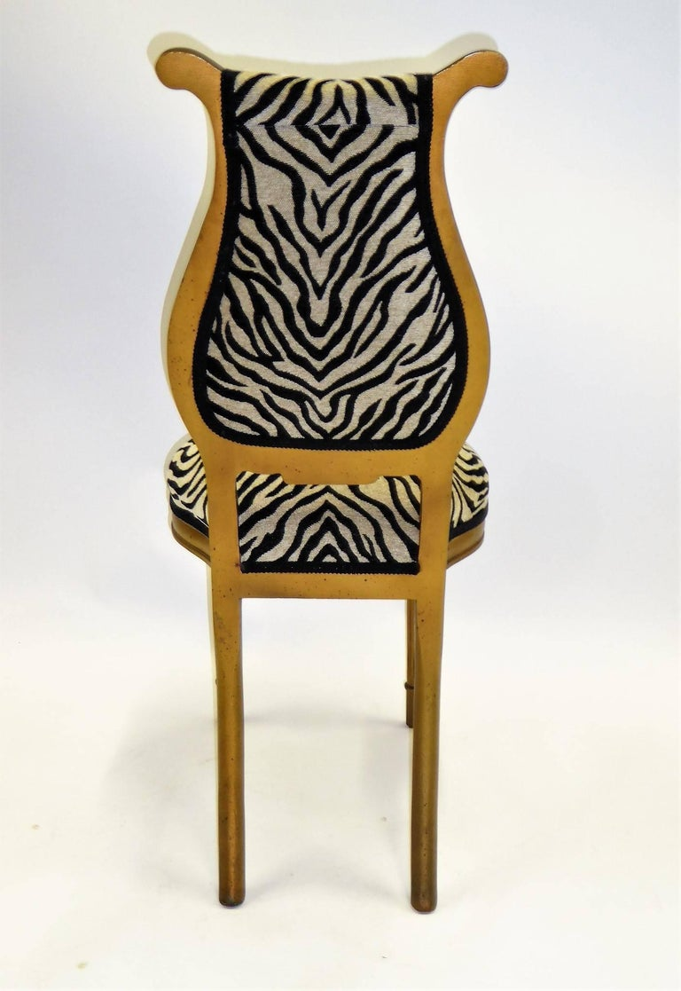 Hollywood Regency 1940s Musical Motif Carved Giltwood Side Chair in Zebra Chenille For Sale