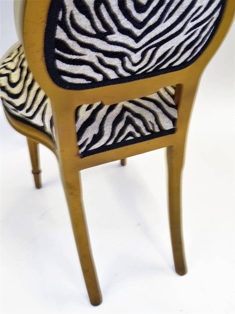 20th Century 1940s Musical Motif Carved Giltwood Side Chair in Zebra Chenille For Sale
