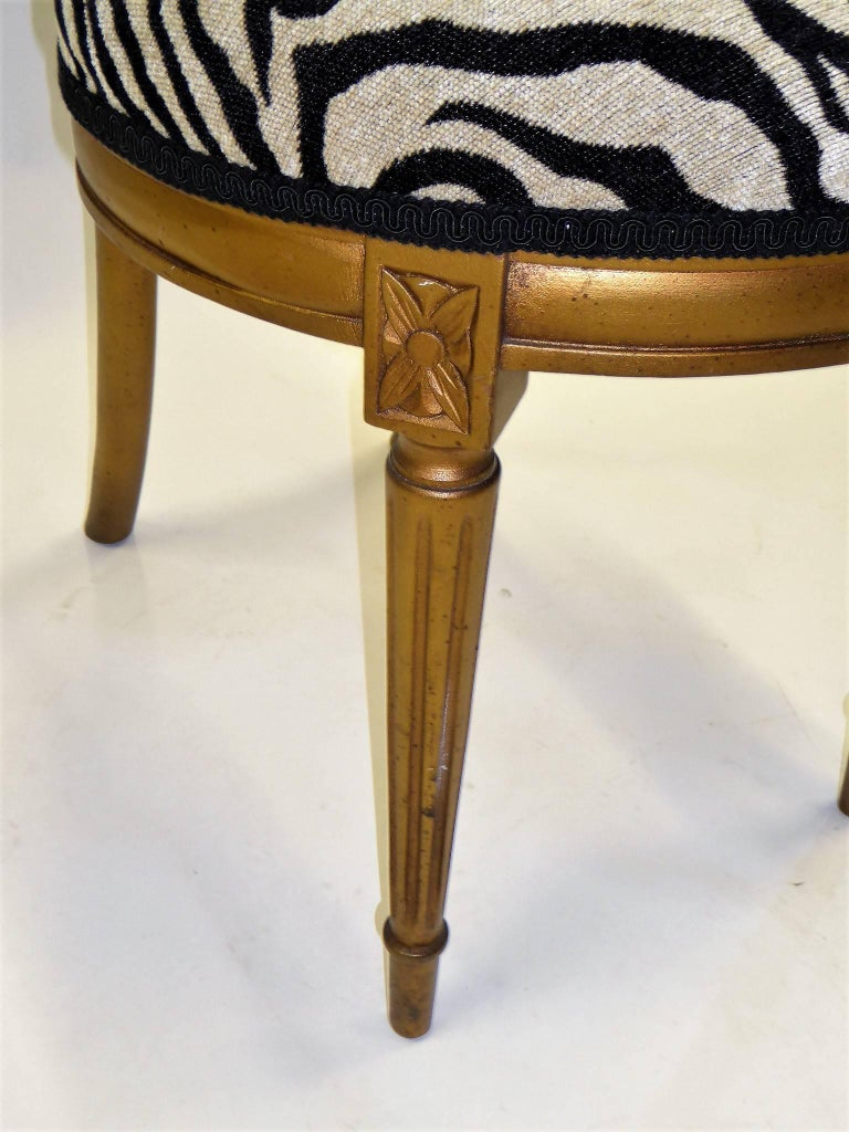 1940s Musical Motif Carved Giltwood Side Chair in Zebra Chenille For Sale 2