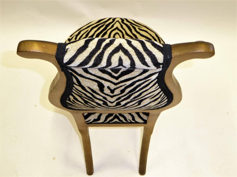 1940s Musical Motif Carved Giltwood Side Chair in Zebra Chenille For Sale 1
