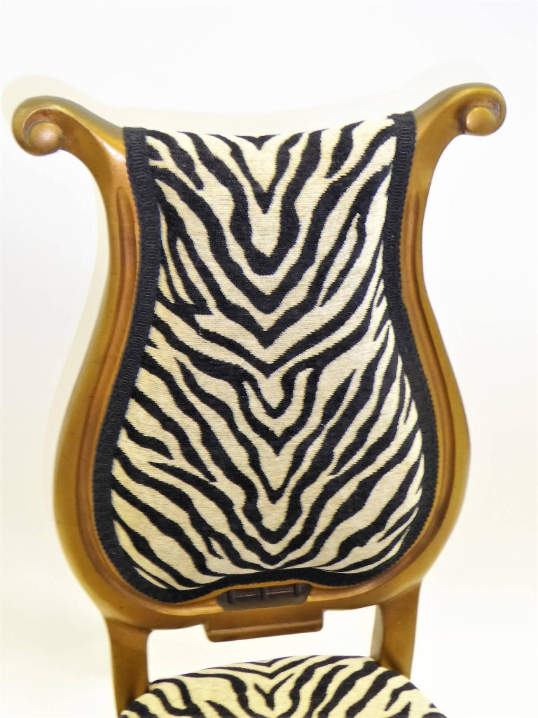 1940s Musical Motif Carved Giltwood Side Chair in Zebra Chenille In Excellent Condition For Sale In Miami, FL