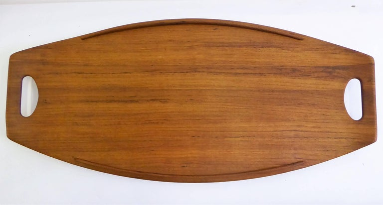 Mid-20th Century Three Early Jens Quistgaard Dansk Fjord Teak Trays Denmark For Sale