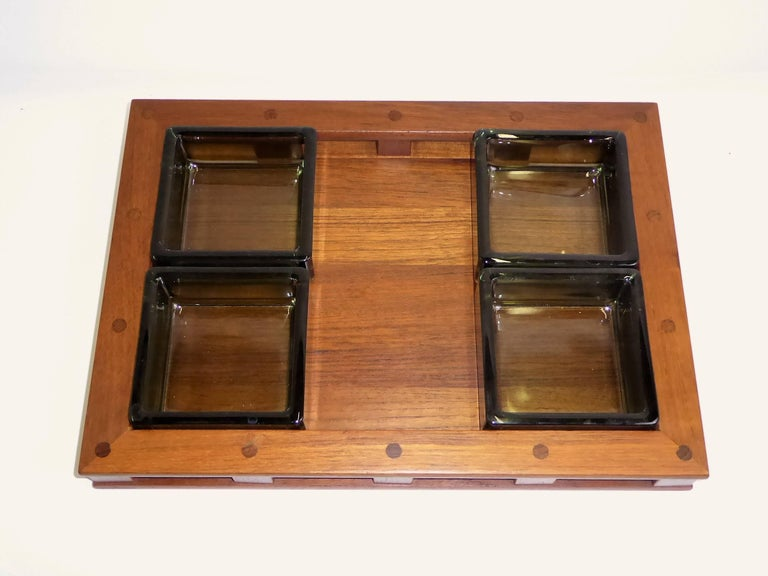 Danish Early Jens Quistgaard Teak Serving Tray with Glass Inserts For Sale