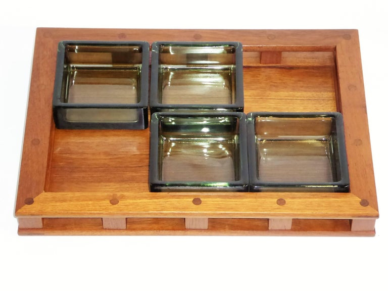 Scandinavian Modern Early Jens Quistgaard Teak Serving Tray with Glass Inserts For Sale