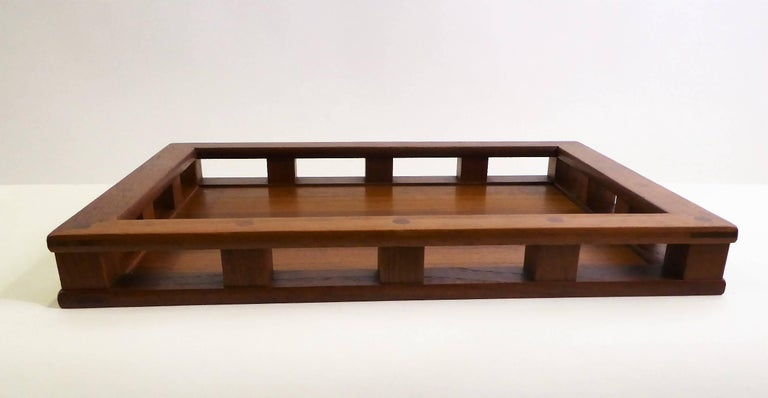 Early Jens Quistgaard Teak Serving Tray with Glass Inserts For Sale 4