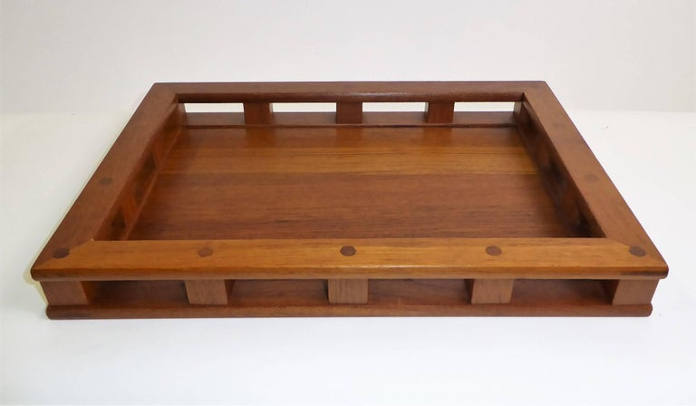 Early Jens Quistgaard Teak Serving Tray with Glass Inserts For Sale 5