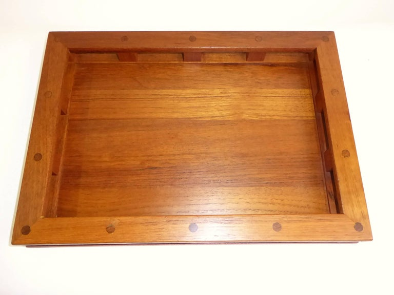 Early Jens Quistgaard Teak Serving Tray with Glass Inserts For Sale 6