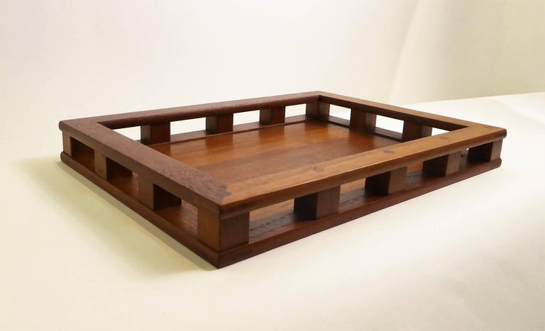 Early Jens Quistgaard Teak Serving Tray with Glass Inserts For Sale 3