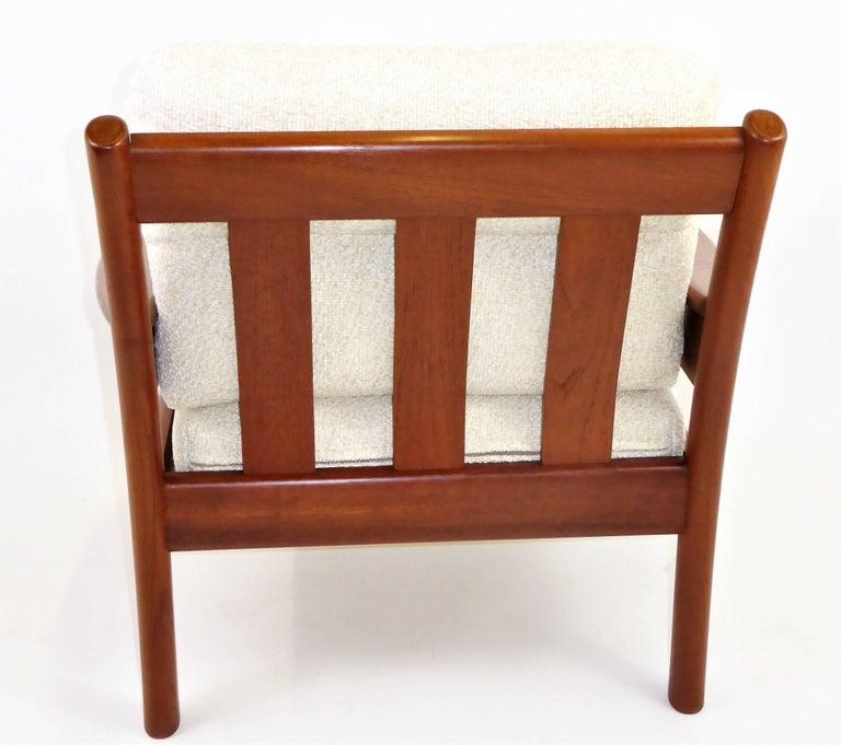 Mid-20th Century Fine 1960s Dyrlund Teak Lounge Armchair Denmark with Chenille Cushions For Sale