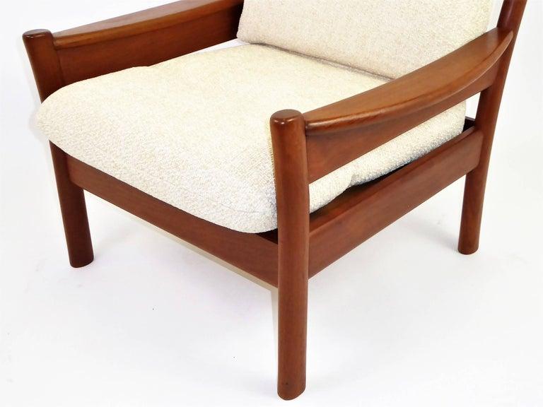 Scandinavian Modern Fine 1960s Dyrlund Teak Lounge Armchair Denmark with Chenille Cushions For Sale
