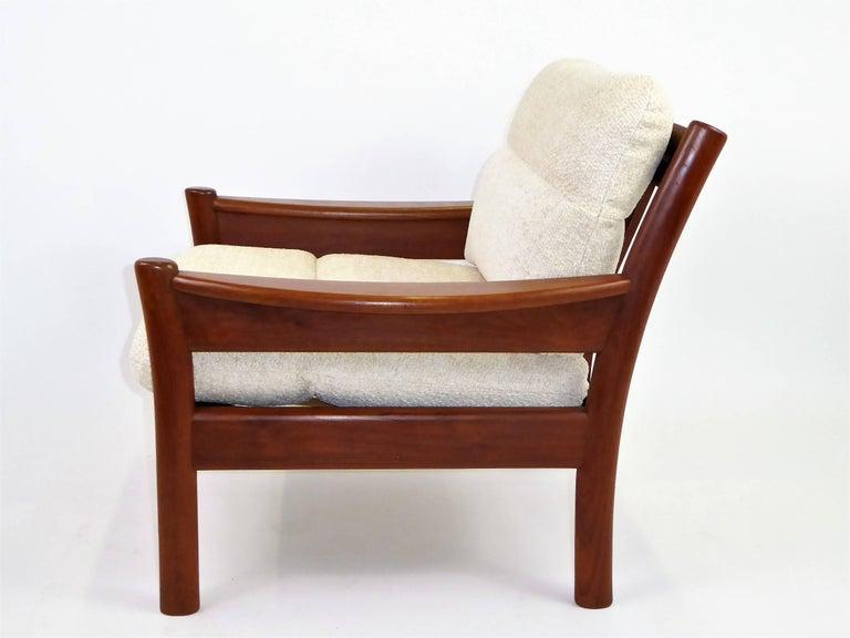 Danish Fine 1960s Dyrlund Teak Lounge Armchair Denmark with Chenille Cushions For Sale