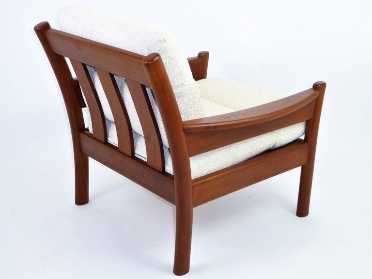 Fine 1960s Dyrlund Teak Lounge Armchair Denmark with Chenille Cushions For Sale 1