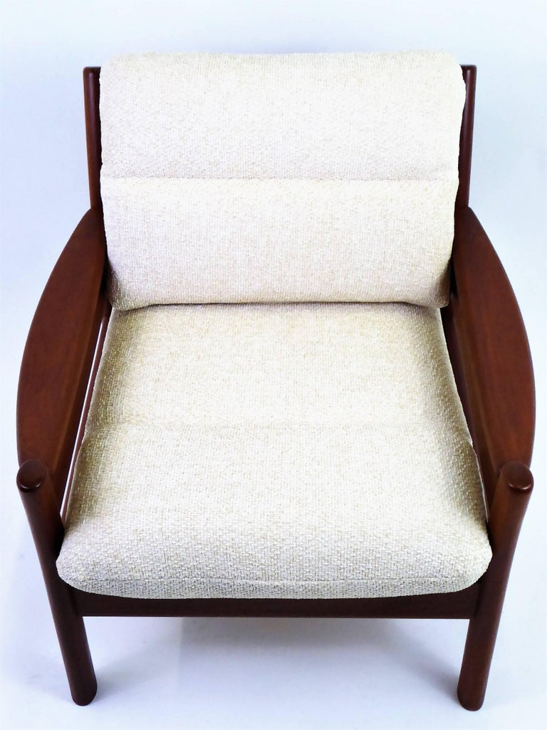 Fine 1960s Dyrlund Teak Lounge Armchair Denmark with Chenille Cushions For Sale 5