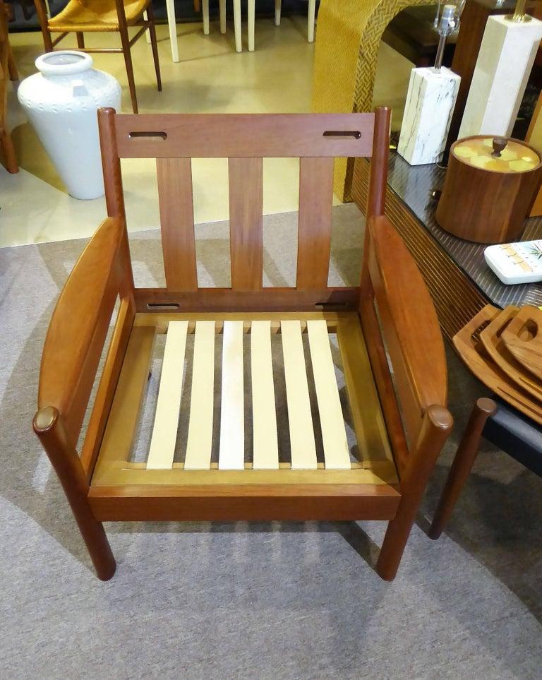 Fine 1960s Dyrlund Teak Lounge Armchair Denmark with Chenille Cushions For Sale 6