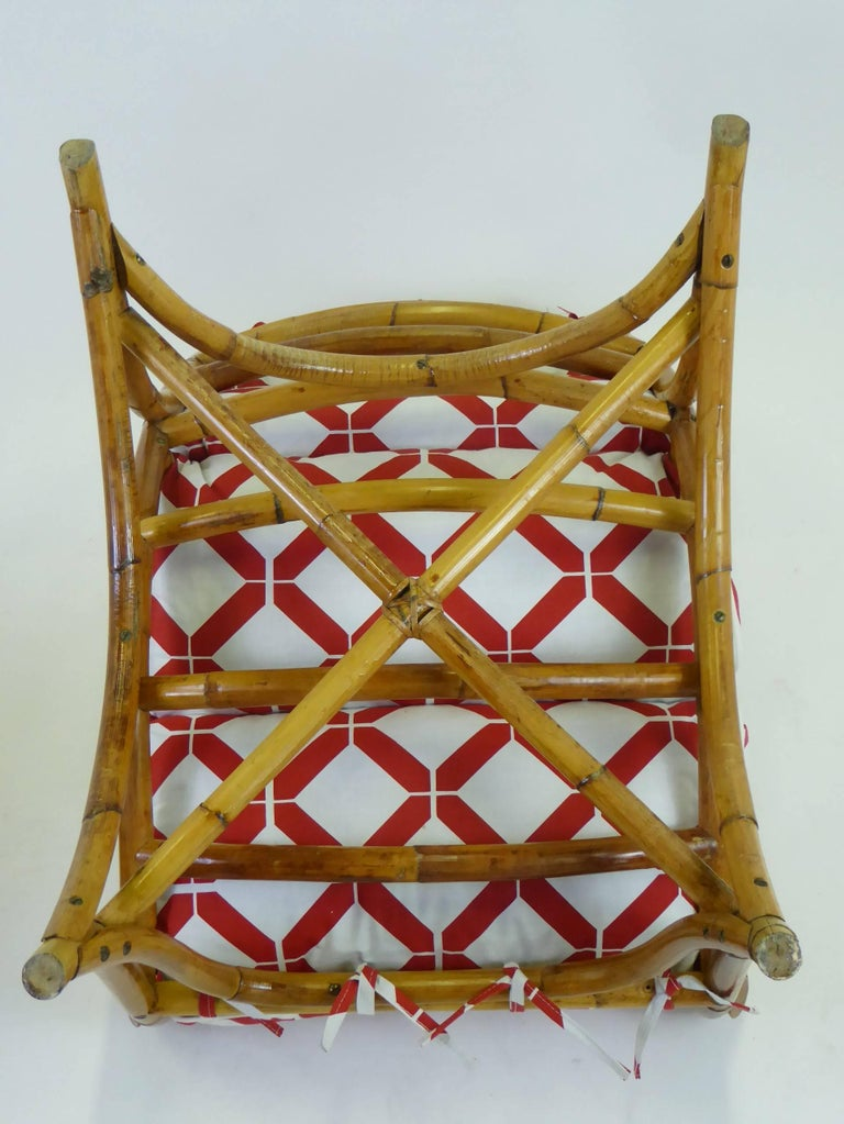 1940s Rattan Lounge Chair and Ottoman Paul Frankl Willow and Reed Style For Sale 7