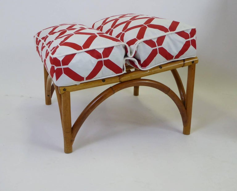 1940s Rattan Lounge Chair and Ottoman Paul Frankl Willow and Reed Style For Sale 2