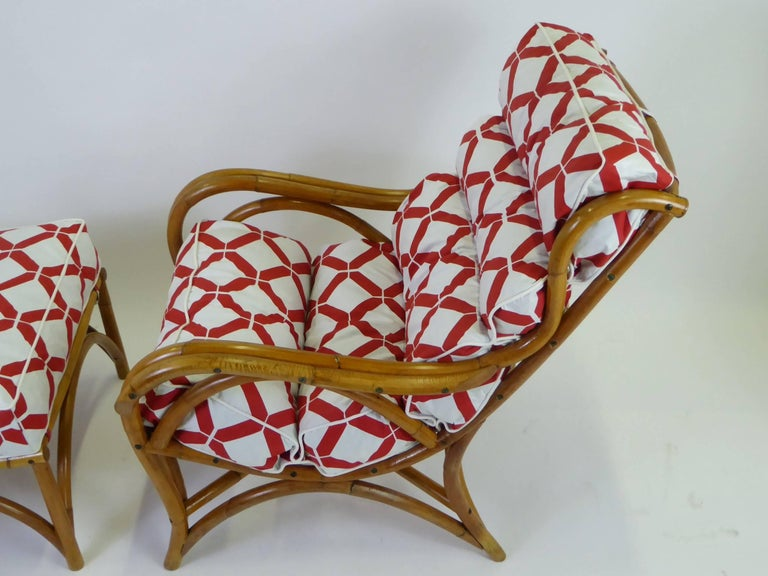 Mid-Century Modern 1940s Rattan Lounge Chair and Ottoman Paul Frankl Willow and Reed Style For Sale