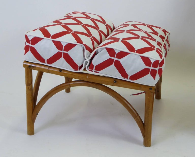 1940s Rattan Lounge Chair and Ottoman Paul Frankl Willow and Reed Style For Sale 4